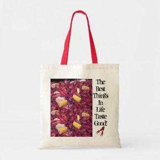crawfish-bag, best-things-in-life-taste-good tote bag