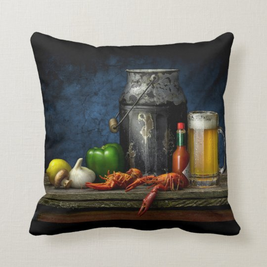 Crawfish & Beer Throw Pillow