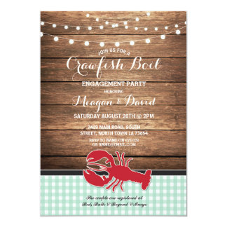 Crawfish Boil Engagement Party Mint Lobster Card