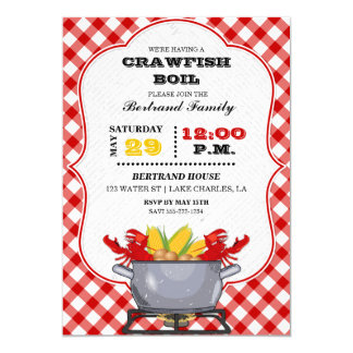 Crawfish Boil Pot Red Chequered Gingham Card