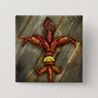 Crawfish Fleur-De-Lis Button