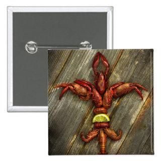 Crawfish Fleur-De-Lis Button