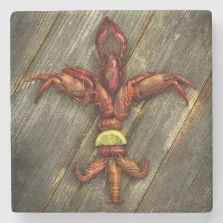 Crawfish Fleur-De-Lis Marble Coaster Stone Beverage Coaster