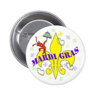 Crawfish Fleur de Lys Mardi Gras 2 Inch Round Button