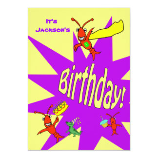 Crawfish / Lobster Cute Critter Superhero Birthday 5x7 Paper Invitation Card