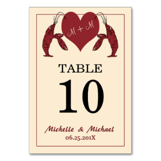Crawfish Lobster Heart Party Table Number Card