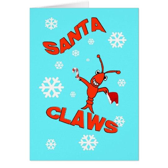Crawfish Santa Claws Christmas Card