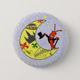 Crawfish Top Hat Crescent Moon 2 Inch Round Button
