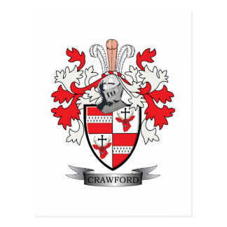 Crawford Family Crest Coat of Arms Postcard