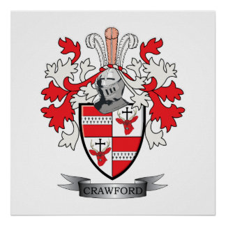 Crawford Family Crest Coat of Arms Poster