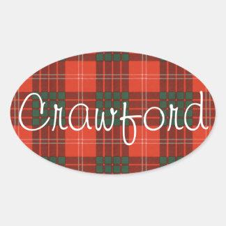 Crawford Scottish clan tartan - Plaid Oval Sticker