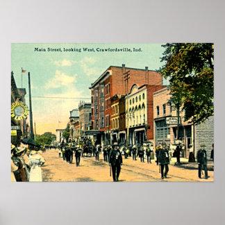 Crawfordsville, Indiana Main Street Poster
