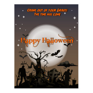 Crawl Out of your Graves Halloween Postcard