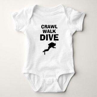 Crawl Walk Dive funny scuba diving baby bodysuit