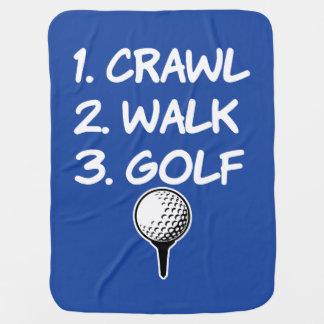 Crawl Walk Golf funny baby boy blanket