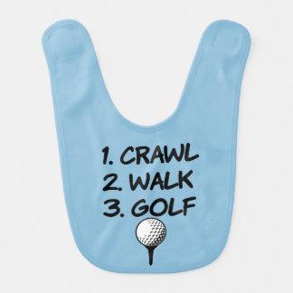 Crawl Walk Golf funny baby boy shirt Bib