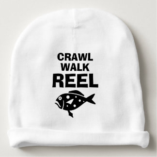 CRAWL WALK REEL funny fishing baby beanie hat
