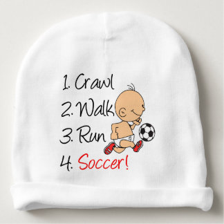 Crawl Walk Run Soccer Baby Beanie