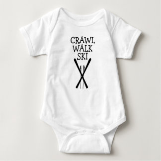 Crawl Walk Ski Skier Skiing Baby Bodysuit