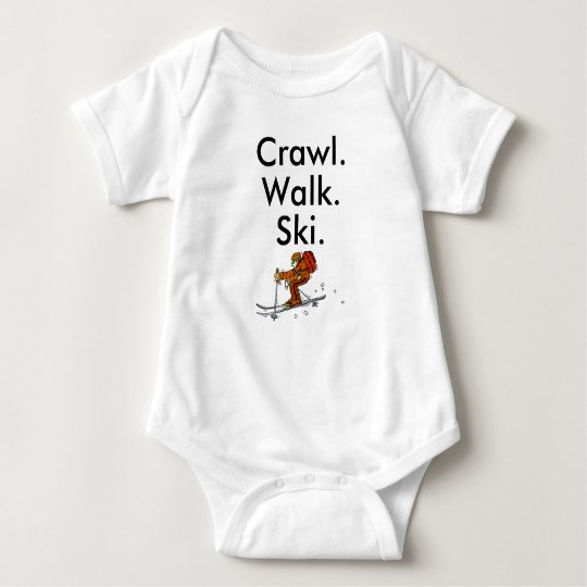 Crawl Walk Ski Skiier Skiing Baby Bodysuit