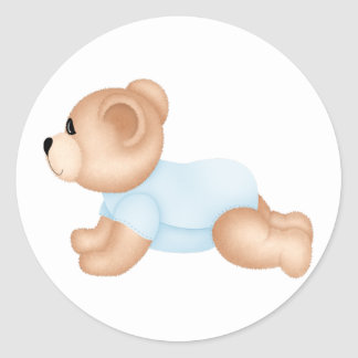 Crawling Baby Teddy Bear Stickers :: Blue