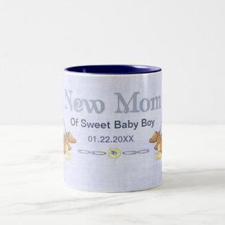 Crawling Teddy - New Mom of Boy - Customize Two-Tone Coffee Mug