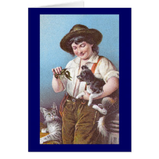 Crayfish, Cat and Dog Victorian Era Card