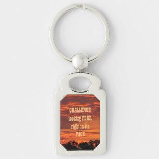 Crayola Orange Sunrise Challenge Silver-Colored Rectangle Keychain