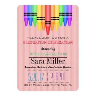 Crayola Rainbow Teacher Graduation Invitation
