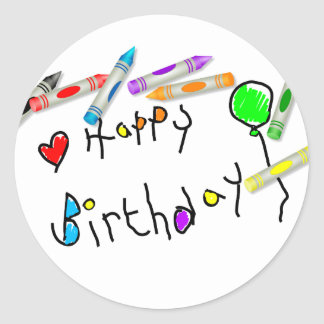 Crayon Birthday Greeting Round Sticker