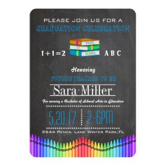 Crayon & Books Teacher Graduation Invitation