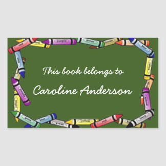 Crayon Border Bookplate Sticker