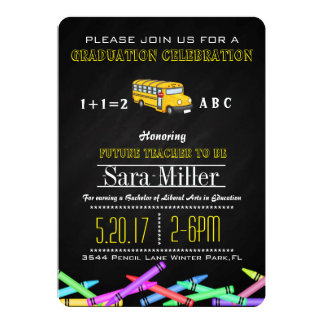 Crayon & Bus Teacher Graduation Invitation