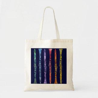 Crayon Clarinets on Navy Tote Bag