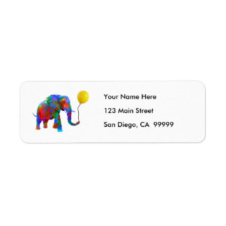 Crayon Colored Elephant with Yellow Balloon
