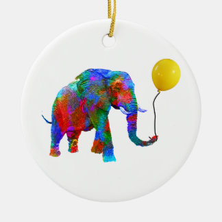Crayon Colored Elephant with Yellow Balloon Ceramic Ornament