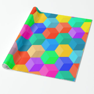 Crayon Colored Perspective Cubes Wrapping Paper