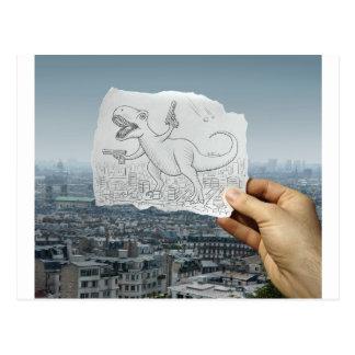 Crayon contre l'appareil-photo - Dino Cartes Postales