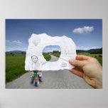 Crayon contre l'appareil-photo - jeu d'enfant poster