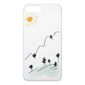 Crayon Drawn Mountain Scene on Phone Case