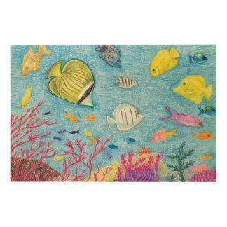 Crayon Fish #4 - Wood Canvas