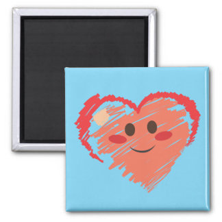 Crayon Heart Square Magnet