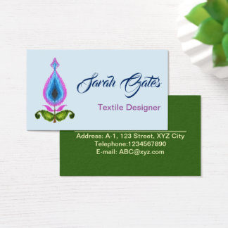 Crayon Paisley Ikat with Chevron Business Card
