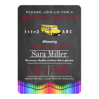 Crayon & School Bus Teacher Graduation Invitation