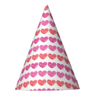 Crayon-Scribbled Hearts Party Hat