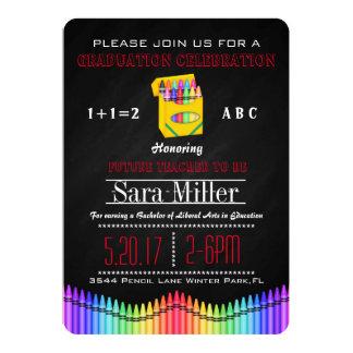Crayon Teacher Graduation Invitation