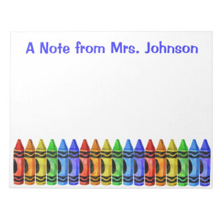 Crayon Teacher Personalized Notepad (White)