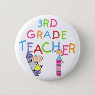 Crayons 3rd Grade Teacher Tshirts and Gifts 2 Inch Round Button