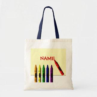 Crayons Color my Name Kids Tote Bag