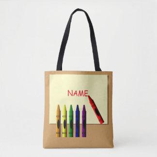 Crayons Color my Name Tote Bag